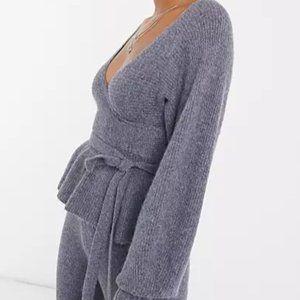 ASOS DESIGN set wrap sweater with tie waist detail